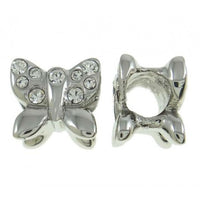 Stainless Steel Clear Stones Butterfly Charm Bead