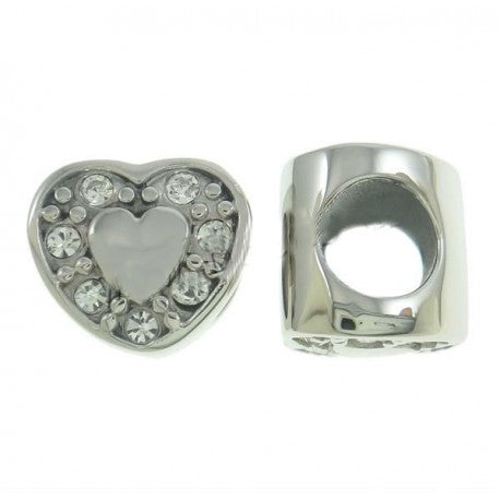 Stainless Steel Clear Stones Heart Charm Bead