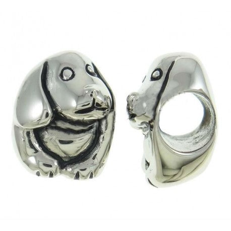 Stainless Steel Dog Charm Bead