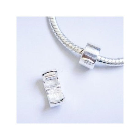 Silver Polished  Clip Lock Stopper Bead