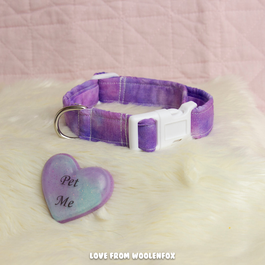 Lilac Galaxy Thin Pup Collar - 11 inches to 15 inches