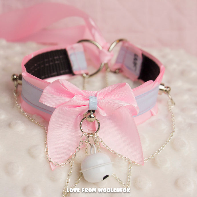 Pink Kitten Ribbon Collar - 13 inches