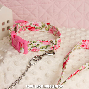 Tea Rose Pup Collar and Leash Set - 11 to 16 inches