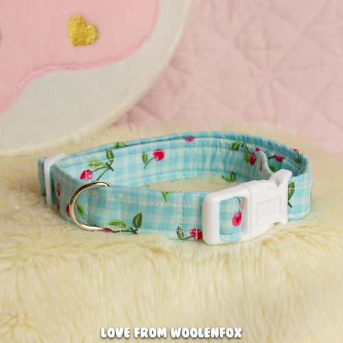 Cherry Bomb Thin Pup Collar - 10 to 15 inches