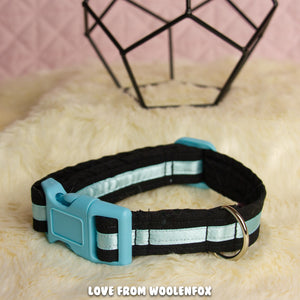 Black and Blue Pup Collar - 11 to 15 inches