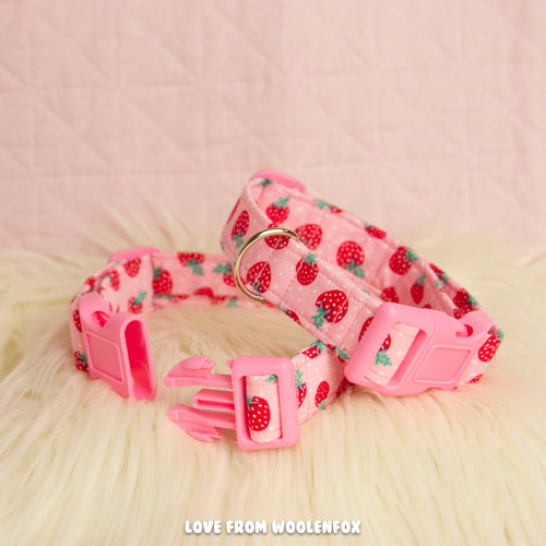 Strawberry Pup Collar - 14 to 19.5 inches