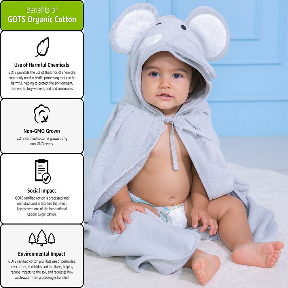 Hooded Organic Baby Towel Grey Elephant,