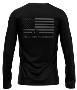 NEVER FORGET LONG SLEEVE: DRY-FIT BLACK