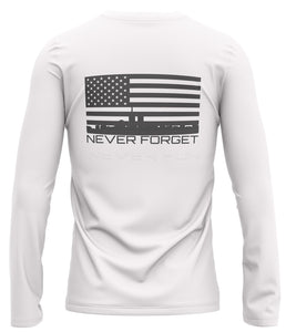 NEVER FORGET LONG SLEEVE: DRY-FIT: WHITE