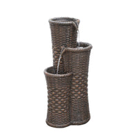 "27.25"" Brown Woven Wicker Inspired Three Tier Patio Garden Water Fountain"