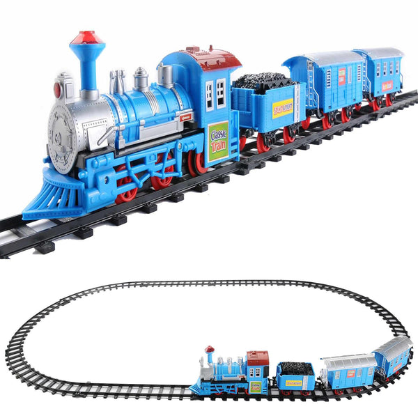 14-Piece Vibrant Blue Battery Operated Lighted Classic Cartoon Train Set