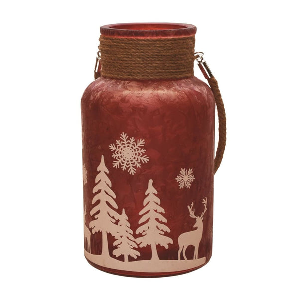 10 Red Iced White Winter Scene Christmas Pillar Candle Lantern With Handle