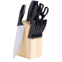 Gibson Helston 14pc Stainless Steel Cutlery Set With Pine Wood Block