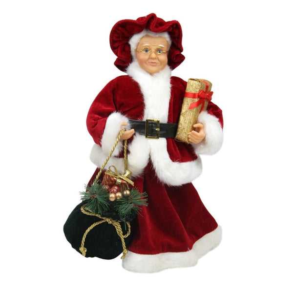 12 Mrs. Claus In Red And White Dress Christmas Figure
