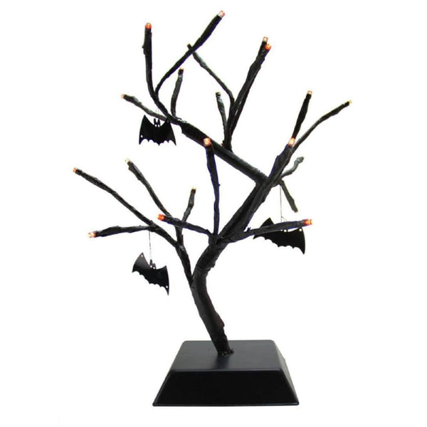 15 Pre-Lit Black Spooky Halloween Table Top Tree With Bats - Orange Led Lights