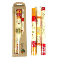 Tall Hand Painted Candles - Three in Box - Kimeta Design - Nobunto