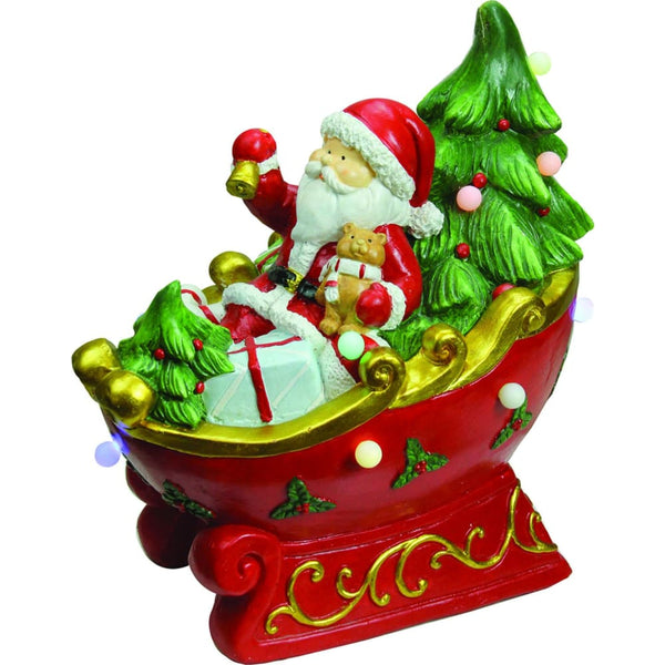 18 Led Lighted Santa In A Sleigh Musical Christmas Decoration