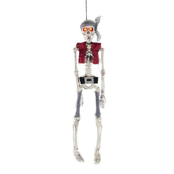 19.75 Lighted Pirate Skeleton With Vest And Belt Hanging Halloween Decoration