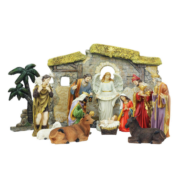 13-Piece Multi-Color Traditional Christmas Nativity Set with Stable