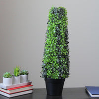"25"" Potted Artificial Two-Tone Boxed Cone Topiary Tree"