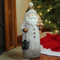 23.75 Weathered Santa With Tea Light Candle Lantern