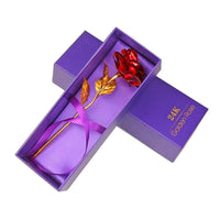 24K Gold Plated Rose in Gold, Red, Blue, or Purple - JT Home & Away