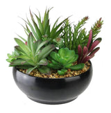 "8"" Artificial Succulent Plant Arrangement in Black Bowl Vase"