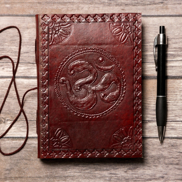 Om Yoga Handmade Leather Journal by Soothi
