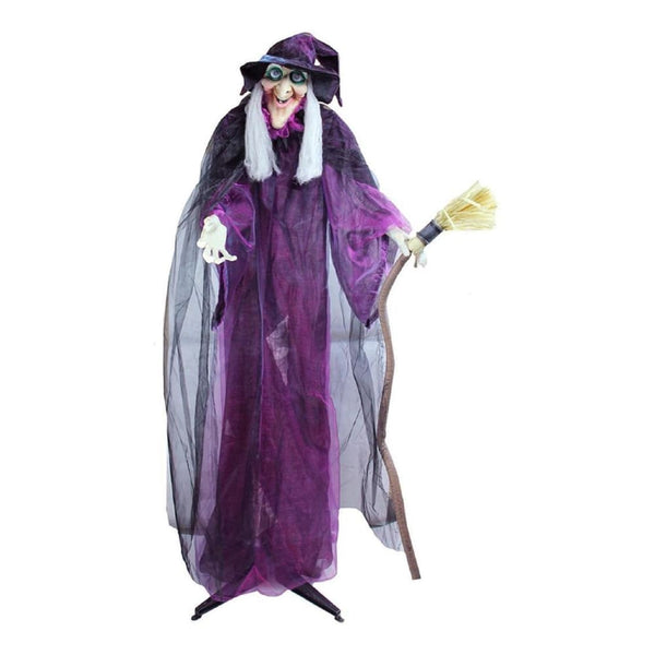 66 Touch Activated Lighted Standing Witch & Broomstick Animated Halloween Decoration With Sound