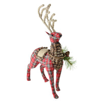 "16.75"" Red Plaid Standing Stuffed Reindeer Christmas Decoration"