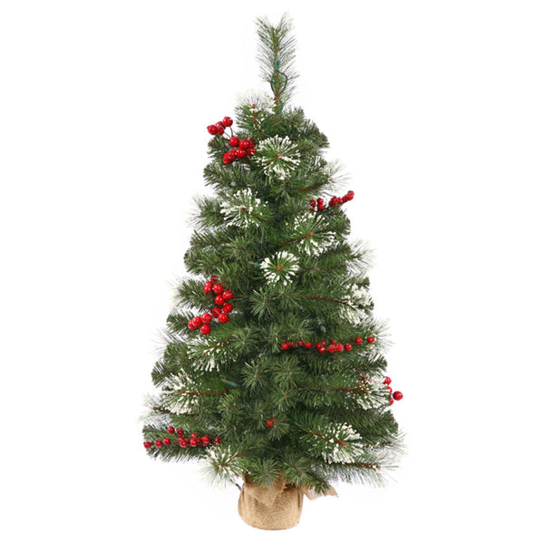 2.5' Siegal Berry Pine Artificial Christmas Tree with Burlap Base - Unlit