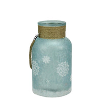"10"" White and Blue Iced Glittered Snowflake Pillar Candle Lantern with Handle"