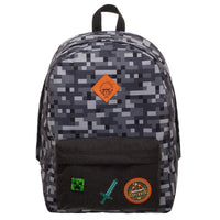 Minecraft Pixelated Camo Grey Backpack