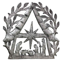 "Nativity Scene with Branches Metal Wall Art (11"" x 11"") - Croix des Bouquets"