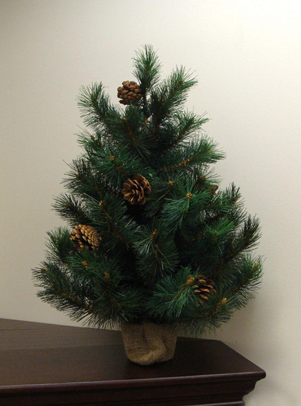 2' Royal Oregon Long Needle Pine Artificial Christmas Tree in Burlap Base - Unlit