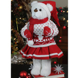 "20"" Retro Santa Bear in Deer Sweater Christmas Figure"
