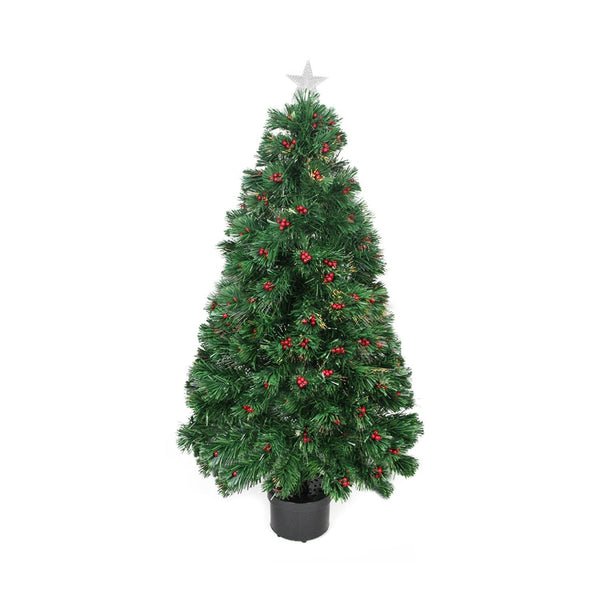 3' Pre-Lit Color Changing Fiber Optic Christmas Tree with Red Berries
