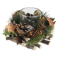"4"" Winter Foliage Copper Pine Cone Christmas Votive Candle Holder"