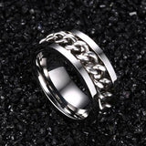 "Stainless Steel ""Fidget"" Chain Spinner Ring in 3 Colors, Sizes 6-15"