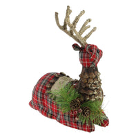 "11.5"" Red Plaid Lying Stuffed Reindeer Christmas Decoration"
