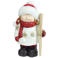 "11"" Red & White Terracotta Girl with Skis Decorative Christmas Figure"