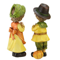 Set of 2 Boy and Girl Pilgrim Thanksgiving Figurines 7.5""