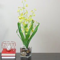 "23.5"" Potted Artificial Yellow Dancing Lady Orchid Silk Flower Plant"