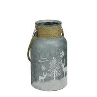 "10"" Silver White Iced Winter Scene Christmas Pillar Candle Lantern with Handle"