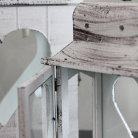Set of 2 White Washed Wooden Candle Lanterns with Heart Cut-Outs