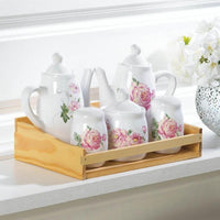 Mini Dolomite Floral Tea Set in Pink or Blue