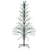 6' Green Outdoor Christmas Cascade Twig Tree Decoration - Green Lights