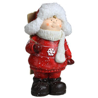 "10.5"" Boy with Skis Decorative Christmas Tabletop Figure"