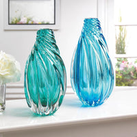 Ocean Blue Spiral Glass Art Vase