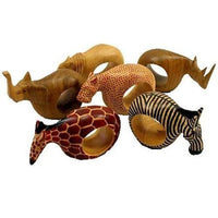 Set of Six Mahogany Wood Animal Napkin Rings Handmade and Fair Trade
